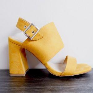Retro yellow pop Call it Spring heels! Size 9!